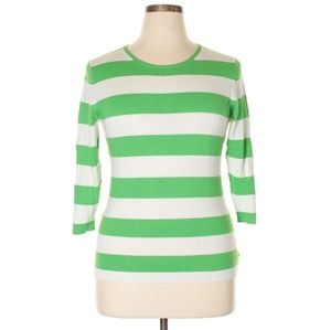 GAP Striped 3/4 Sleeve Washable Cashmere Sweater